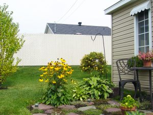 clôture, résidentiel, maille, chaîne, intime, terrain, cour, arrière