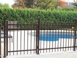clôture, ornemental, résidentiel, cour, arrière, terrain, brun, barrière, porte, piscine, brun, sécurité, esthétique