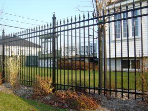 clôture, ornemental, résidentiel, cour, arrière, terrain
