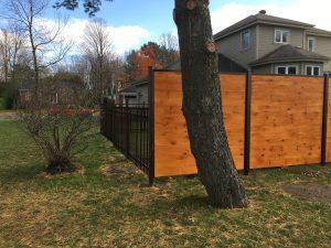 clôture, résidentiel, ornemental, bois, piscine, porte